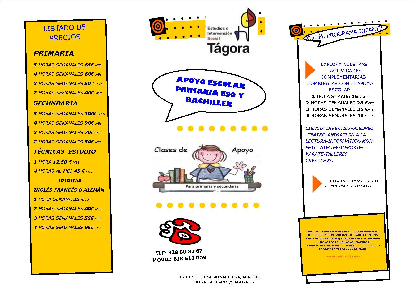 CARTEL DE PRECIOS TAGORA